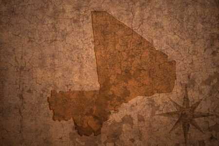 bamako: mali map on a old vintage crack paper background