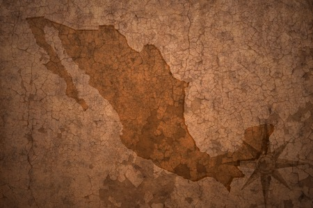mexico map on a old vintage crack paper background Stock fotó