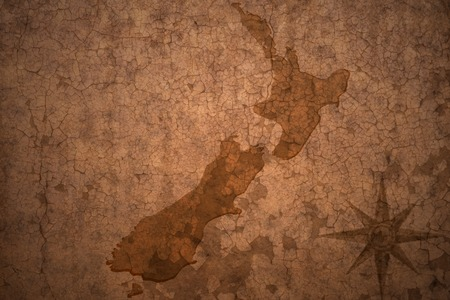 new zealand map on a old vintage crack paper background