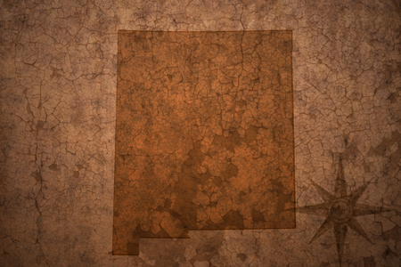 new mexico state map on a old vintage crack paper background