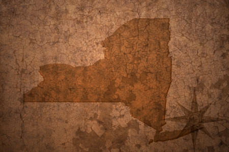 old new york: new york state map on a old vintage crack paper background