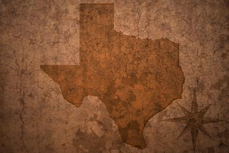 テキサス州古いビンテージ亀裂紙背景地図