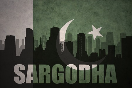 middle east conflict: abstract silhouette of the city with text Sargodha at the vintage pakistan flag background