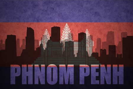 phnom penh: abstract silhouette of the city with text Phnom Penh at the vintage cambodian flag background
