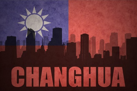 china town: abstract silhouette of the city with text Changhua at the vintage taiwan flag background