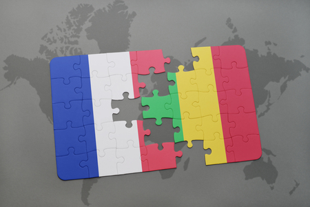 bamako: puzzle with the national flag of france and mali on a world map background. 3D illustration