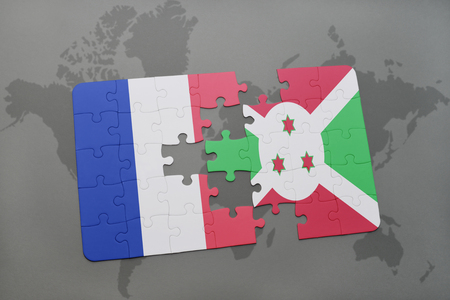 puzzle with the national flag of france and burundi on a world map background. 3D illustration