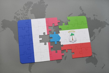 equatorial guinea: puzzle with the national flag of france and equatorial guinea on a world map background. 3D illustration Stock Photo