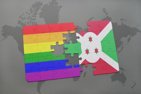 puzzle with the national flag of burundi and gay rainbow flag on a world map background. 3D illustration