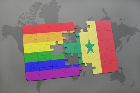 dakar: puzzle with the national flag of senegal and gay rainbow flag on a world map background. 3D illustration