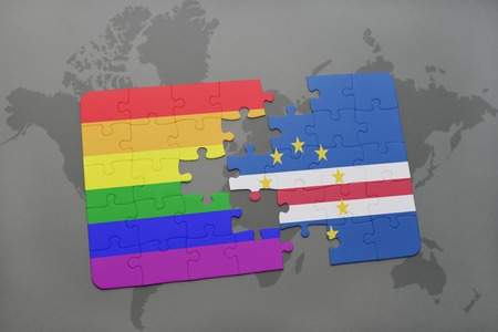 praia: puzzle with the national flag of cape verde and gay rainbow flag on a world map background. 3D illustration