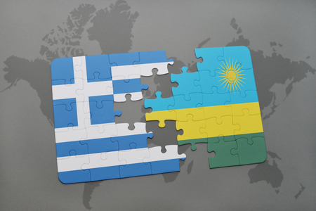 kigali: puzzle with the national flag of greece and rwanda on a world map background. 3D illustration Stock Photo