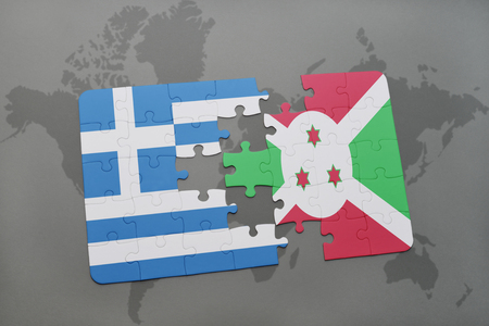 bujumbura: puzzle with the national flag of greece and burundi on a world map background. 3D illustration