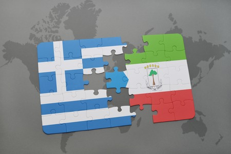 equatorial guinea: puzzle with the national flag of greece and equatorial guinea on a world map background. 3D illustration