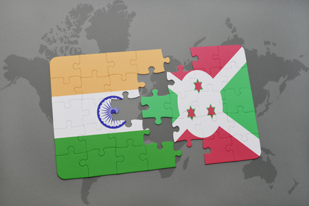 bujumbura: puzzle with the national flag of india and burundi on a world map background. 3D illustration