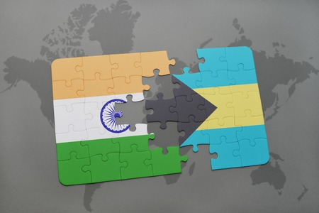 bahamas map: puzzle with the national flag of india and bahamas on a world map background. 3D illustration