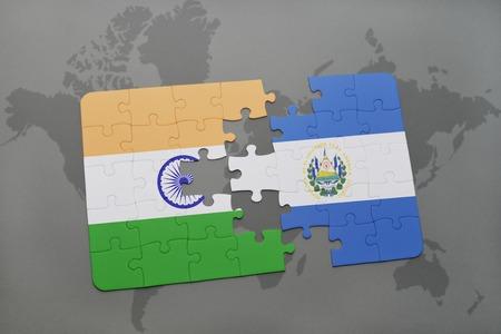 mapa de el salvador: puzzle with the national flag of india and el salvador on a world map background. 3D illustration Foto de archivo