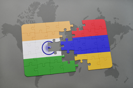 yerevan: puzzle with the national flag of india and armenia on a world map background. 3D illustration