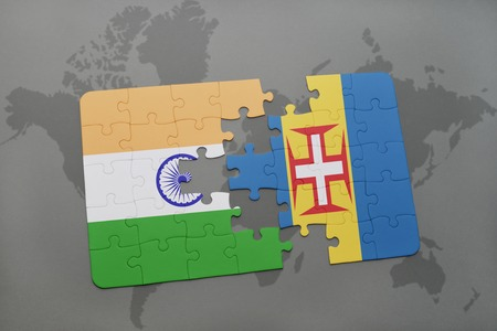 madeira: puzzle with the national flag of india and madeira on a world map background. 3D illustration