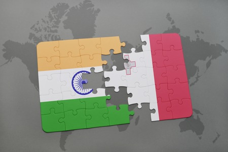 maltese map: puzzle with the national flag of india and malta on a world map background. 3D illustration Stock Photo