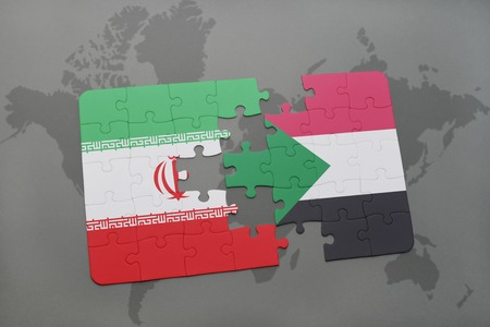 Puzzle with the national flag of iran and south sudan on a world illustration gumiabroncs Image collections