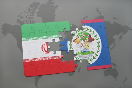 puzzle with the national flag of iran and belize on a world map background. 3D illustration