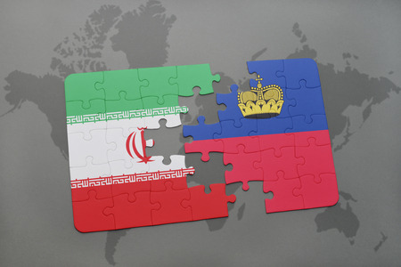 puzzle with the national flag of iran and liechtenstein on a world map background. 3D illustration