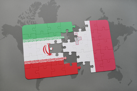maltese map: puzzle with the national flag of iran and malta on a world map background. 3D illustration
