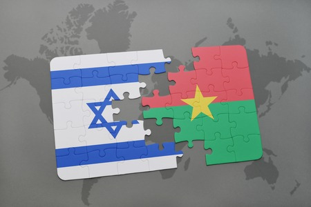 tel: puzzle with the national flag of israel and burkina faso on a world map background. 3D illustration