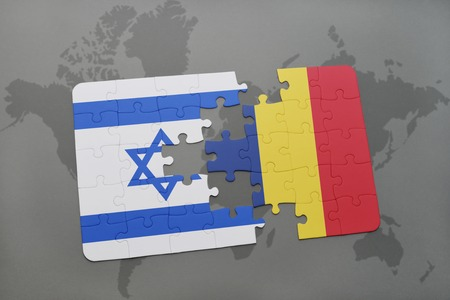 puzzle with the national flag of israel and chad on a world map background. 3D illustration Фото со стока