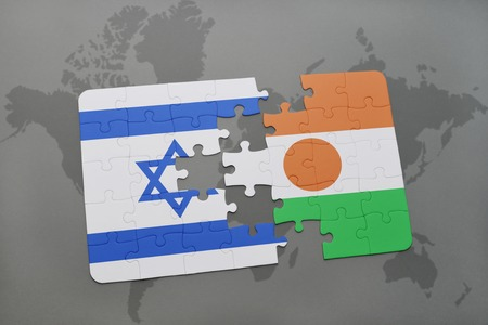 tel: puzzle with the national flag of israel and niger on a world map background. 3D illustration