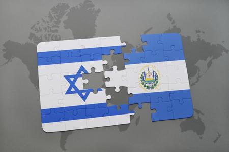 mapa de el salvador: puzzle con la bandera nacional de Israel y El Salvador en un mapa del mundo de fondo. ilustración 3D Foto de archivo