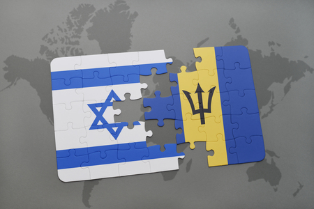aviv: puzzle with the national flag of israel and barbados on a world map background. 3D illustration