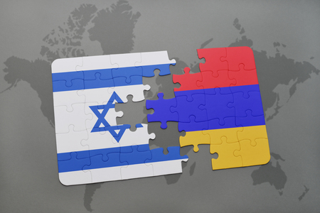 yerevan: puzzle with the national flag of israel and armenia on a world map background. 3D illustration