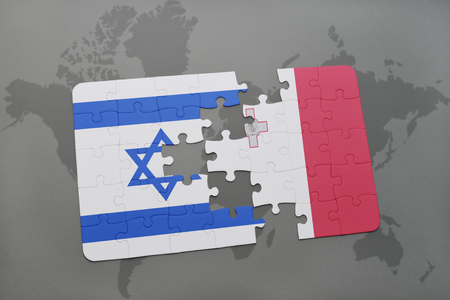 maltese map: puzzle with the national flag of israel and malta on a world map background. 3D illustration Stock Photo