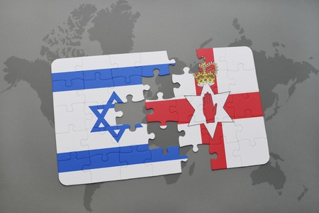 irish map: puzzle with the national flag of israel and northern ireland on a world map background. 3D illustration