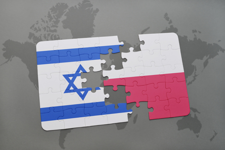puzzle with the national flag of israel and poland on a world map background. 3D illustration