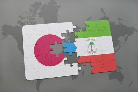 Puzzle with the national flag of japan and gambia on a world stock puzzle with the national flag of japan and equatorial guinea on a world map background gumiabroncs Choice Image