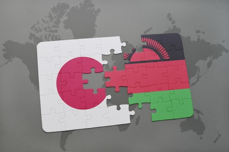 puzzle with the national flag of japan and malawi on a world map background. 3D illustration