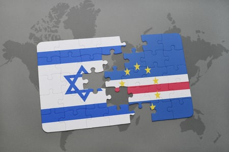 tel: puzzle with the national flag of israel and cape verde on a world map background. 3D illustration