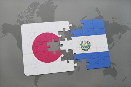 mapa de el salvador: puzzle con la bandera nacional de Japón y El Salvador en un mapa del mundo de fondo. ilustración 3D