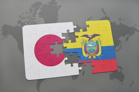 Puzzle with the national flag of japan and ecuador on a world illustration puzzle with the national flag of japan and ecuador on a world map background 3d illustration gumiabroncs