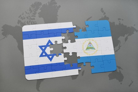 tel: puzzle with the national flag of israel and nicaragua on a world map background. 3D illustration