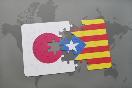 catalonia: puzzle with the national flag of japan and catalonia on a world map background. 3D illustration