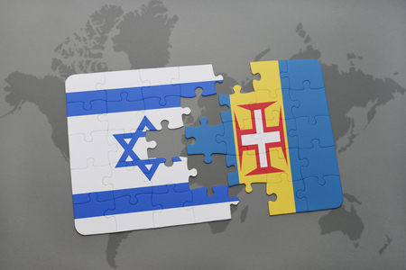 tel: puzzle with the national flag of israel and madeira on a world map background. 3D illustration