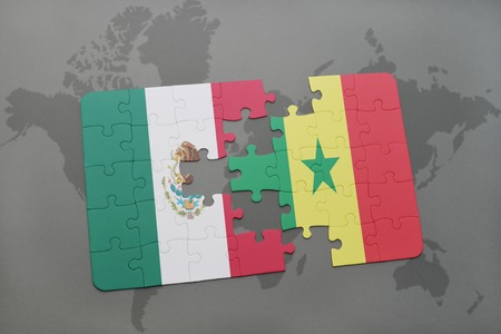 dakar: puzzle with the national flag of mexico and senegal on a world map background. 3D illustration Stock Photo