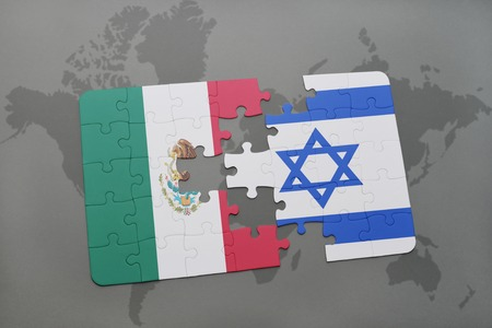 tel: puzzle with the national flag of mexico and israel on a world map background. 3D illustration