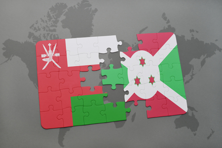 puzzle with the national flag of oman and burundi on a world map background. 3D illustration