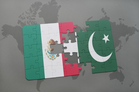 islamabad: puzzle with the national flag of mexico and pakistan on a world map background. 3D illustration