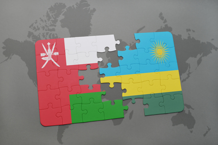 kigali: puzzle with the national flag of oman and rwanda on a world map background. 3D illustration
